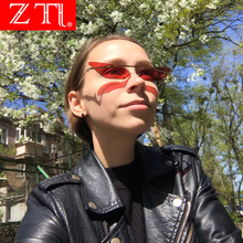 ZT Women Small Cat Eye Sunglasses Brand Designer Sexy Triangle Sunglass Fashion Rimless Red Mirror Glasses UV400 Gafas De Sol