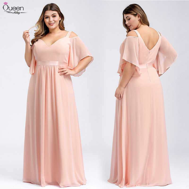 Pink Bridesmaid Dresses Long Plus Size Off The Shoulder Sexy A-Line V-Neck Elegant Formal Wedding Party Gowns Robe Mousseline