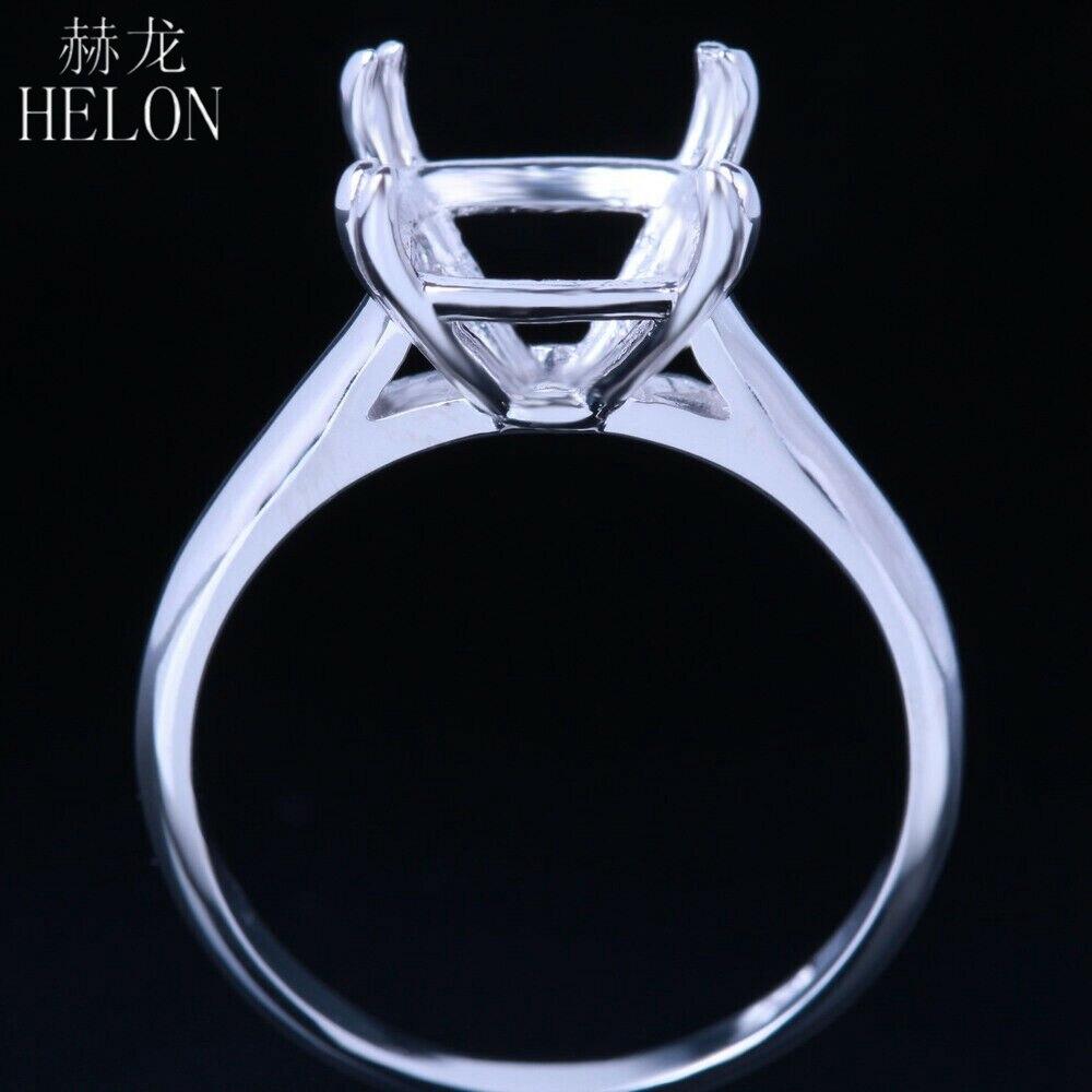 10K White Gold Cushion Cut Semi Mount Setting Diamond Ring Engagement Wedding