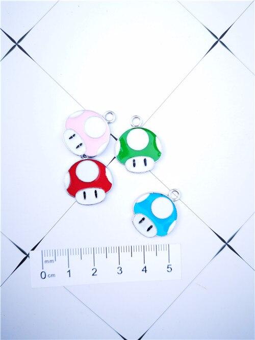 10Pcs 4 farbe pilz kopf Super Mario Halskette Schlüssel kette Emaille Perlen Anhänger Metall Charms Handwerk DIY Schmuck Machen finden