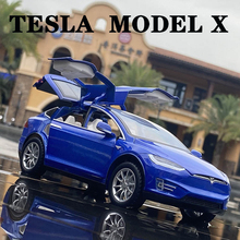 2021 New 1:24 Tesla MODEL X Alloy Favorites Car Model Diecasts Sound and light Toy Cars Kid Toys For Children Gifts Boy Toy