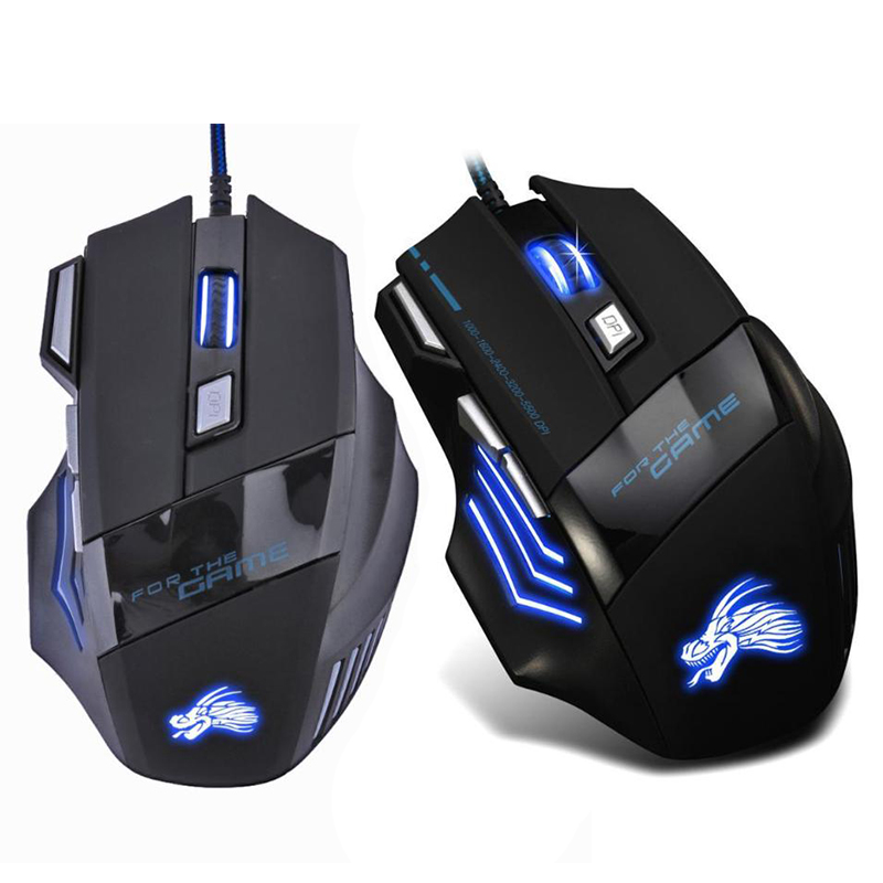 VODOOL USB Wired Gaming Mouse 5500 DPI 7 Buttons LED Backlight Optical Computer Mouse Ergonomic Mause Gamer Mice For PC Laptop