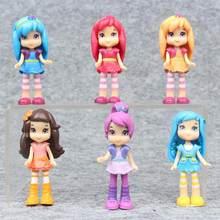 6 pçs/set polly bolso figura de ação brinquedos 7cm dos desenhos animados morango princesa boneca collectiable pvc modelo brinquedo para crianças presentes