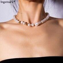 Ingemark Punk Imitation Pearl Choker Necklace Collar Statement Female 2019 New Fashion Bead Chain Women Girls Jewelry