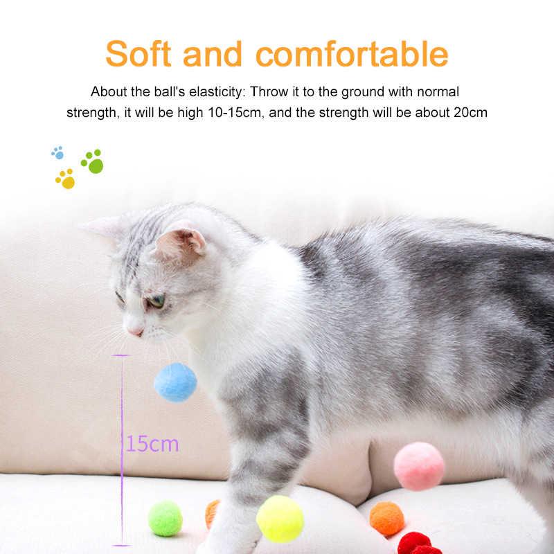 10/20/30 Pcs 고양이 장난감 침묵 플러시 장난감 공 다채로운 플러시 공 여러 가지 빛깔의 퍼즐 게임 재생 고양이 용품