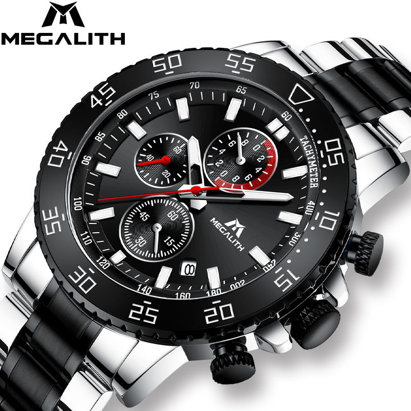 MEGALITH Military Watches Clock Chronograph Quartz Stainless-Steel Male Fashion Band