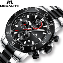 MEGALITH Military Watches Men Stainless Steel Band Waterproof Quartz Wristwatch Chronograph Clock Male Fashion Sports Watch 8087