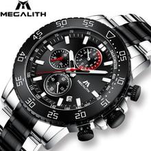 MEGALITH צבאי שעונים גברים נירוסטה בנד Waterproof קוורץ שעוני יד הכרונוגרף שעון זכר אופנה ספורט שעון 8087