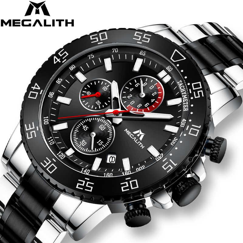 MEGALITH الساعات العسكرية الرجال الفولاذ المقاوم للصدأ الفرقة مقاوم للماء كوارتز ساعة اليد كرونوغراف ساعة الذكور موضة الرياضة ساعة 8087