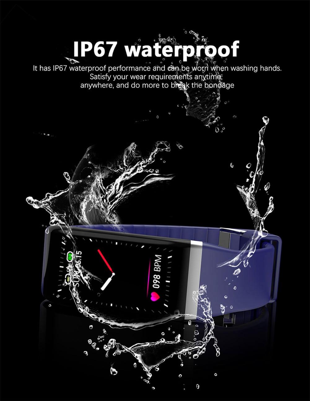 H0ff0253962ec4d0fafbe99473ff3f088h Smart Band Blood Pressure 1.14'' Screen Fitness Tracker Watch Heart Rate Fitness Bracelet Waterproof Music Control For Men Women