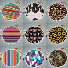 Summer swimming beach bath towel leopard pattern round 150 cm tassel printing microfiber summer beach towel adult yoga mat