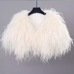 Elegant Ostrich Feather White Fur Coat Jacket Bridal Bolero For Wedding Formal Shawls Wedding Bridal Wraps Fur Formal Evening Pa
