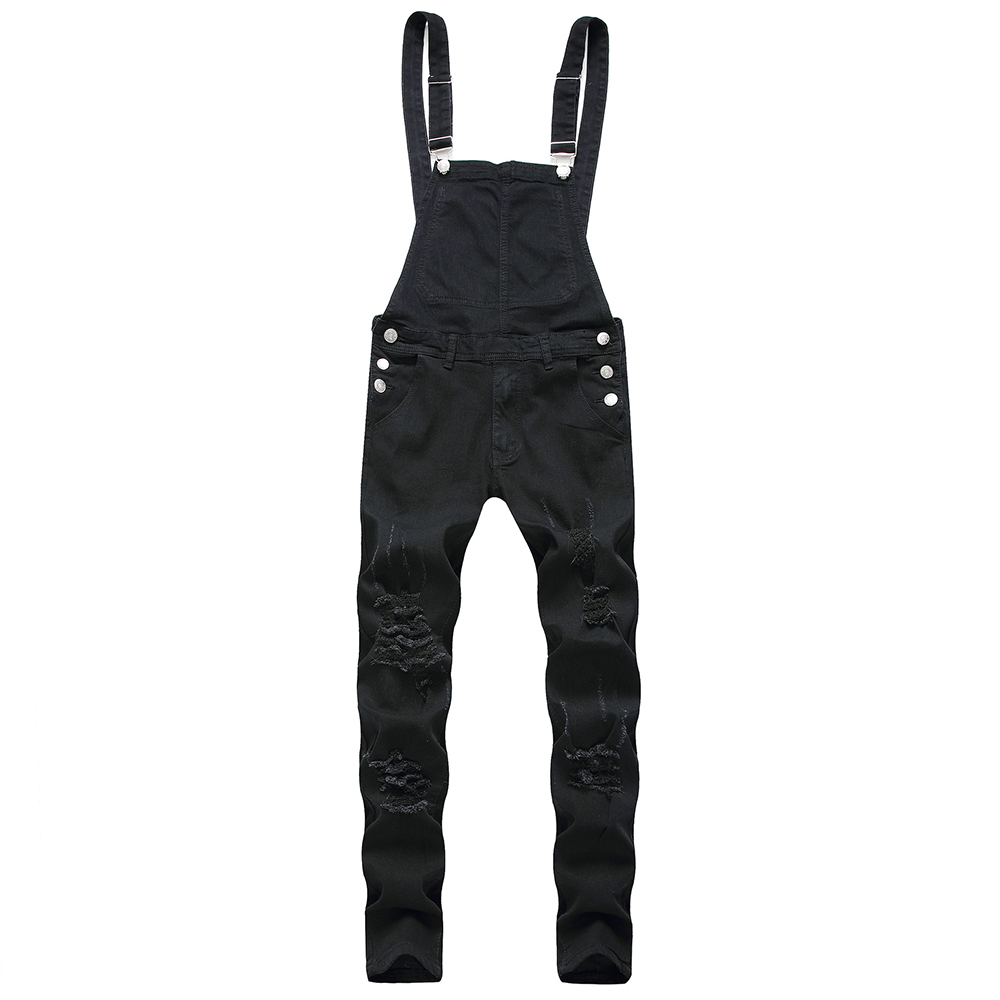 Men's Ripped Jeans <font><b>Jumpsuit</b></font> Men Straight Slim Denim Streetwear Hole Casual Pantalones <font><b>Hombre</b></font> Summer Pocket Overalls image