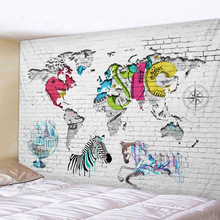 цена Map Wall Tapestry Glowing Psychedelic Wall Hanging Color block Tapestry Boho Home Decor Art Wall Cloth Fabric Large Size