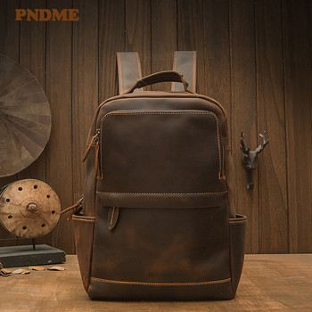 Simple retro high quality natural crazy horse cowhide mens backpack casual daily travel bookbag genuine leather laptop bagpack
