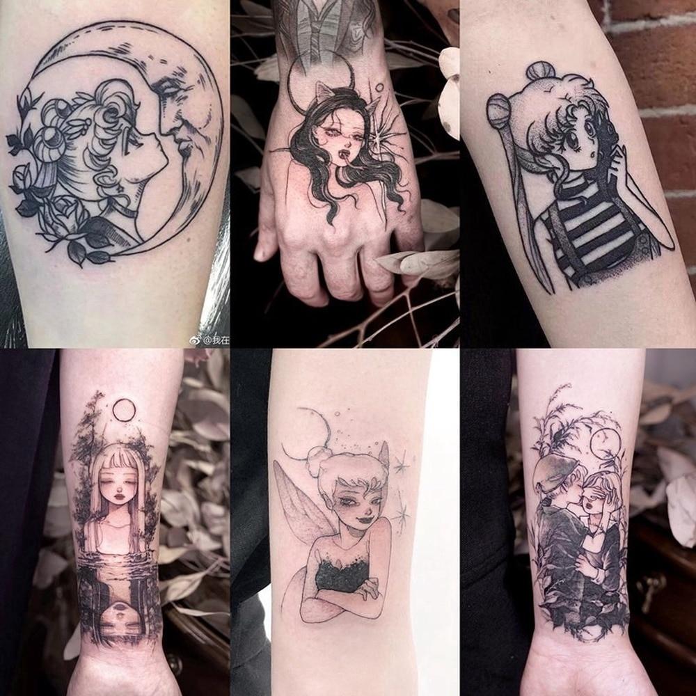 30 Sheets Tattoo Stickers Dark Black Moon Dark Wind Japanese Temporary Tattoo