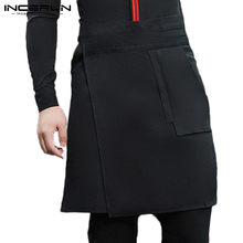 Waiter Uniform Aprons Unisex Pockets Solid Button Up Irregular Skirts Aprons Cafe Restaurant Work Skirts Chef Costumes INCERUN(China)