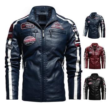 Aliksada Men Autumn Winter New Fashion Motor Biker Leather Jackets Coat Men Vintage Style Patchwork PU Faux Leather Jackets Men