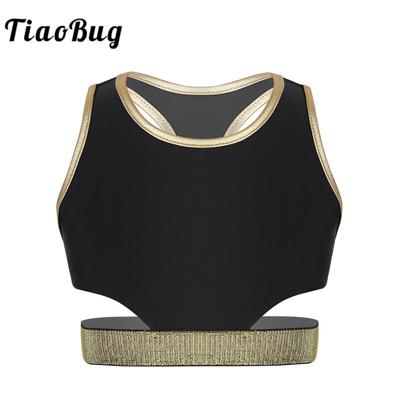 Kids Girls Sleeveless Workout Sports Short Crop Tops Ballet Gymnastics Tops Child Stretchy Dancewear Performance Dance Costume