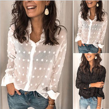 Sexy Fashion Woman White Blouses 2020 Long Sleeve Beach Tunic Elegant Dot Shirt Casual Chiffon Blouse perspective chemise Female(China)