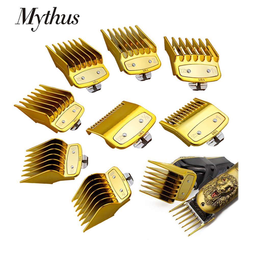 Mythus Metal Hair Clipper Guide Comb Set Barber Hair Clipper Limit Comb Cutting Attachment Universal Hair Clipper Guards In Gold