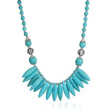 Bohemian Vintage Silver Blue Stone Teething Necklaces for Women Boho Ethnic Costume Jewelry Necklace