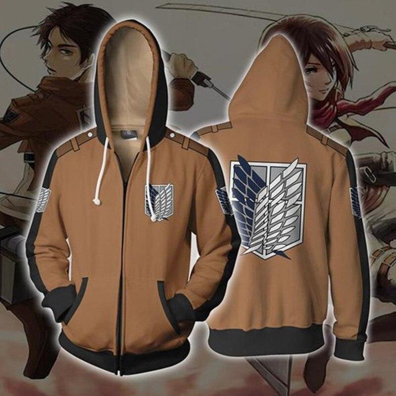Anime Sweatshirt Hoodie Attack on Titan Cosplay Costume Jacket  Zipper Top Levi Ackerman