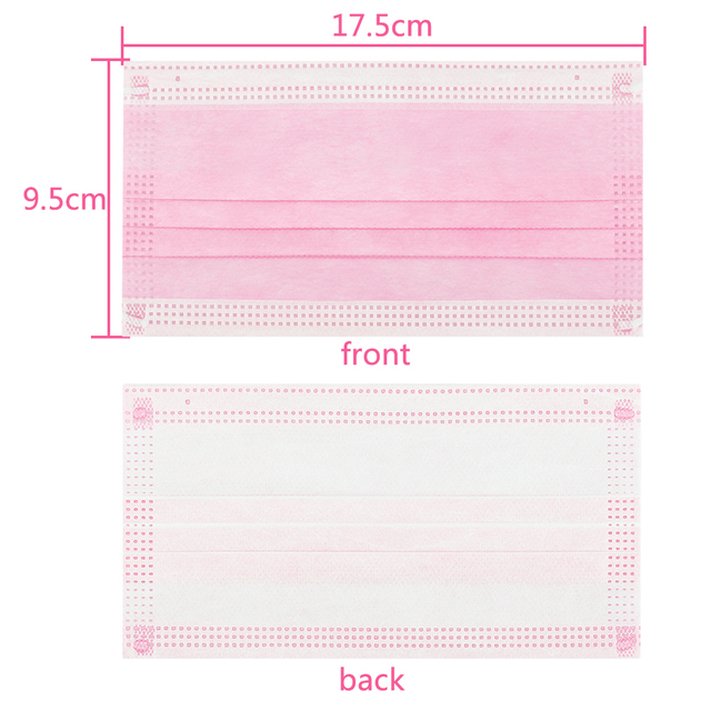 10/20/50/100/200 pcs/Bag 3 Layer Non-woven  Face Mask Disposable Mouth Mask  Safety Mask Earloop Face Mask pink colors Masks 2