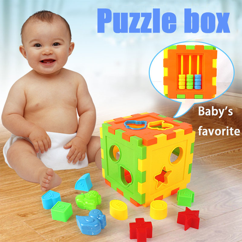 Educational Cubes Bricks Animal Geometric Shape Matching Blocks Sorting Plastic Box Kids Toy Developing Intelligence For Gift