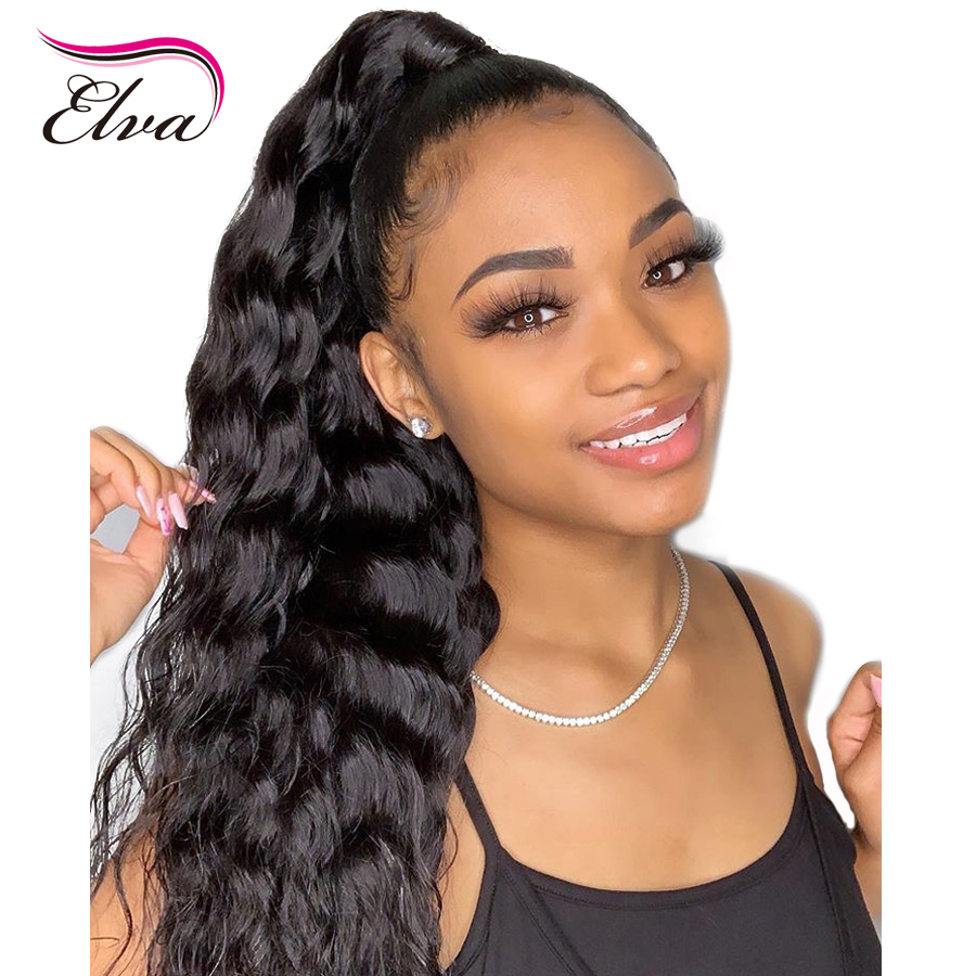 Elva Hair 13x6 Fake Scalp 370 Lace Front Human Hair Wigs Pre Plucked With Baby Hair Brazilian Body Wave Remy Hair Wigs For Women