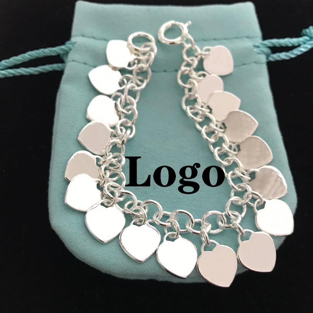 100% 925 sterling silver multiple heart-shaped brand bracelets, exquisite craftsmanship, classic micro-labels, original jewelry