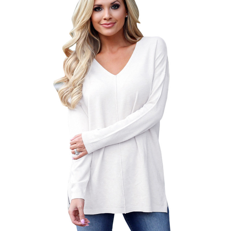 New Solid Knitted Pullover Women Harajuku Casual Loose Thin Sweater Fashion V-neck Long Sleeve Sweater Knitting Pullovers 3XL