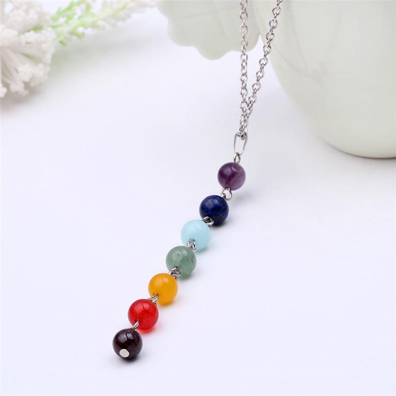7 Chakra Gem Stone Beads Pendant Necklace Women Yoga Reiki Healing Balancing Maxi Chakra Necklaces Bijoux Femme Jewelry 2021 New