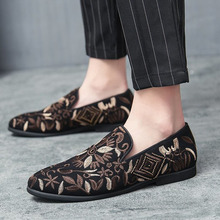 Men's Shoes Casual Boat Shoes Mens Loafer Floral Print Men's Flat Shoes Male Breathable Sneakers Comfy Slip-on Outdoor Shoes Men