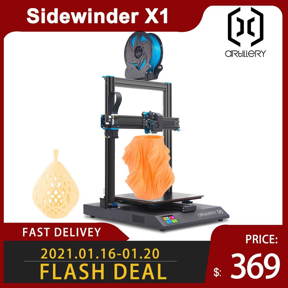 3D принтер Artillery Sidewinder X1 SW-X1, набор «сделай сам» для самостоятельной сборки, большой размер 300*300*400 мм, двойная ось Z, TFT сенсорный экран, версия V4