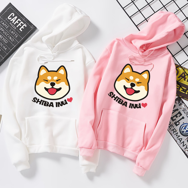 Women Harajuku Hoodies Plus Velvet Autumn Kawaii Cute Japanese Anime Shiba Innu Pullover Kpop Sweatshirt Moletom Sudadera Mujer