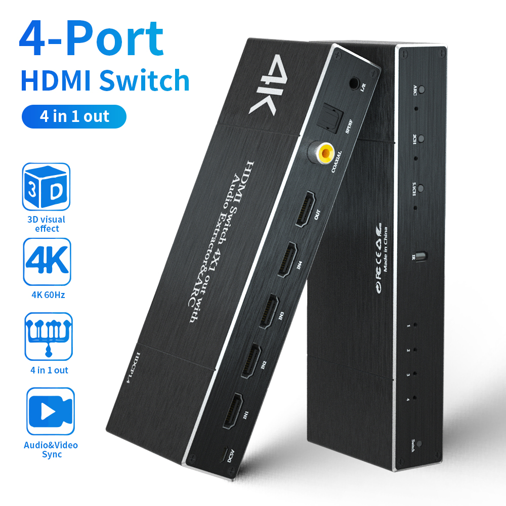 <font><b>HDMI</b></font> 2.0 Switcher Splitter <font><b>HDMI</b></font> Matrix <font><b>4k</b></font> 60Hz 4 IN 1 OUT SPDIF +3.5mm Audio Extractor & ARC HDR HDCP <font><b>2.2</b></font> With IR Remote Adapter image