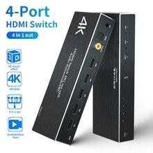 4K * 2K 60Hz HDMI Switcher מתאם HDMI רכזת מתג 4 ב 1 מתוך 4 יציאת פלט יציאת אודיו Extractor קשת HDR HDCP מרחוק HDMI ספליטר