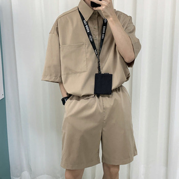 2020 Summer New Youth Popular Loose Solid Color Lapel Short-sleeved T-shirt Straight Shorts Fashion Casual Mens Suit