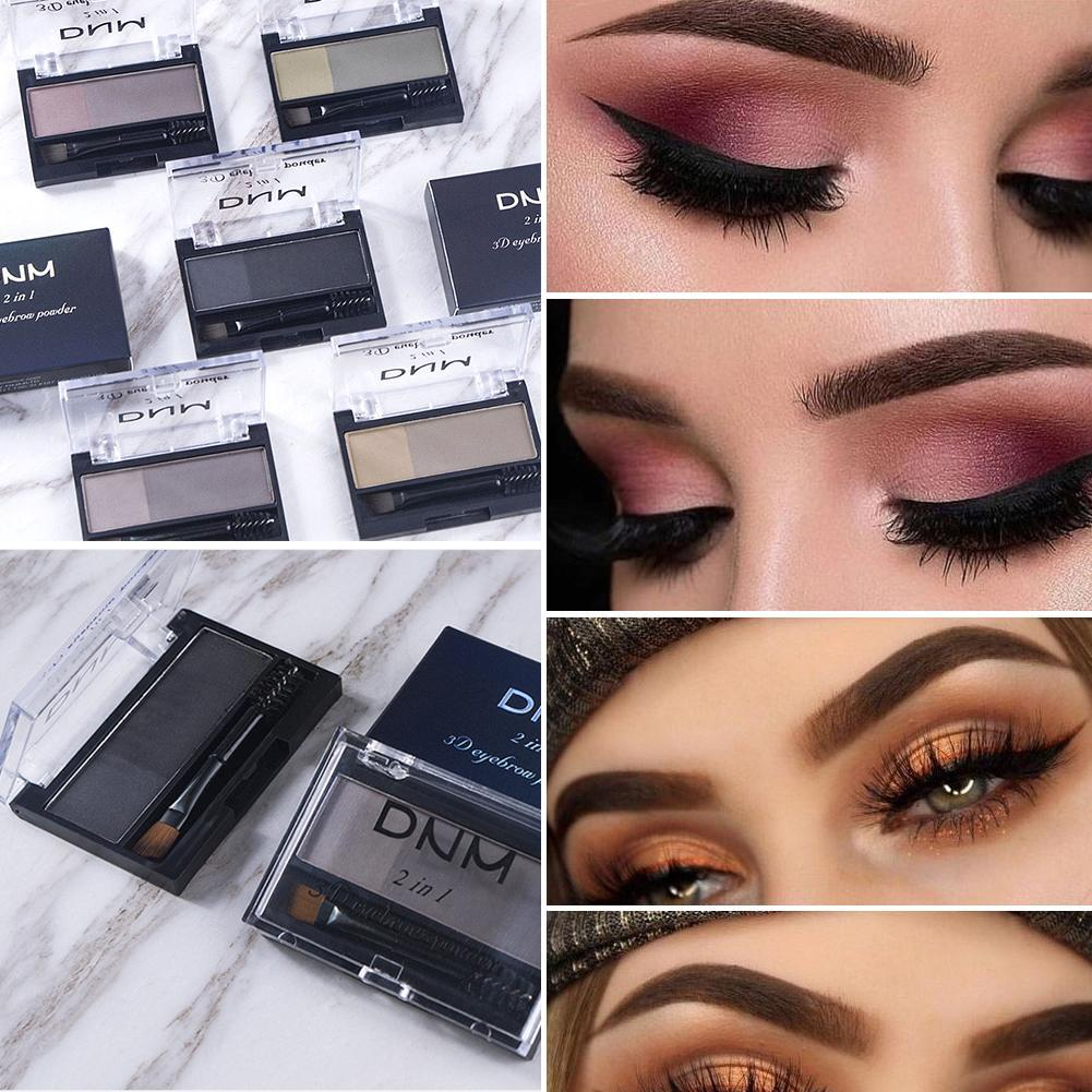 Double Color Eyebrow Powder Makeup Palette Natural Brown Eye Brow Enhancers 3D Eye Brows Shadow Cake Beauty Kit with Brush 6