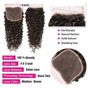 Image 3 - UNICE HAIR Brazilian Curly Lace Closure Free Part Remy Human Hair Closure Swiss Lace 150% Density Natural Color 1 Piece