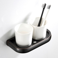European Style Sanitary Ware Bathroom Pendant Toothbrush Cup Holder Cup Drying Mat Brass Black And White with Pattern Vintage Do
