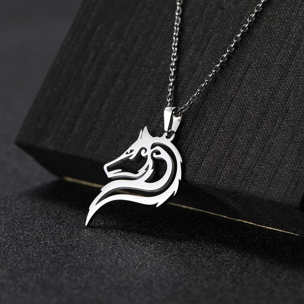 Skyrim Amulet Wolf Animal Necklaces Fashion Stainless Steel Cutout Wolves Pendant Chain Necklace Women Mujer Jewelry Gift