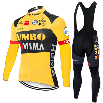 2020 inverno equipe de lã térmica ciclismo jumbo visma manga longa ciclismo jérsei kits homens mtb ropa ciclismo bicicleta maillot gel 1