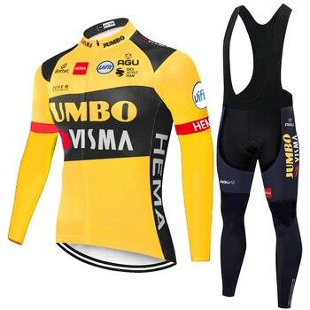Jumbo Visma-Traje conjunto de ciclismo de lana térmica para hombre, equipo de...