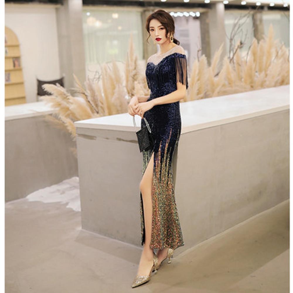 Evening Dress Tassel Split Sequin Women Party Dresses Short Sleeve Zipper Robe De Soiree O neck Elegant Formal Gowns 2019 F060 in Evening Dresses from Weddings Events