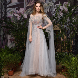Image 4 - Silver Grey Luxury Dubai Evening Dresses 2020 Long Sleeves O Neck A Line Sexy Evening Gowns
