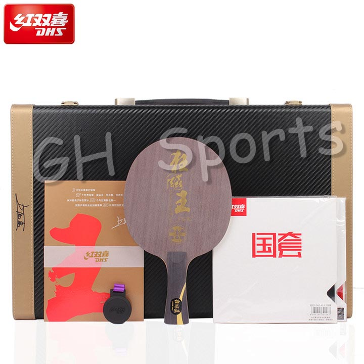 DHS Wang Liqin Gift Set Limited Edition Table Tennis Blade (Hurricane King + National Blue Sponge Rubber) Ping Pong Collection
