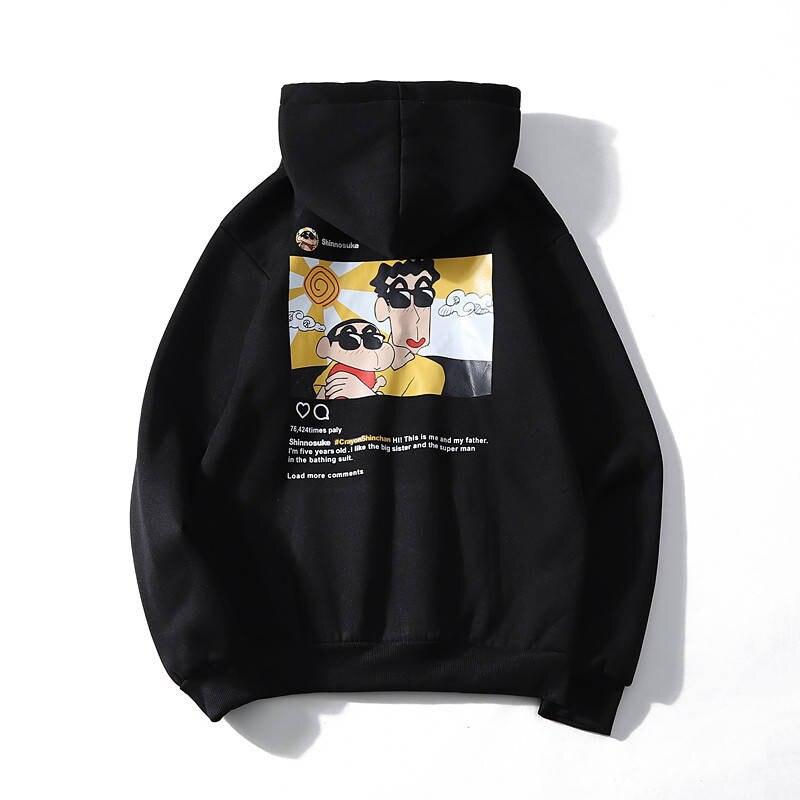 Funny Cute Cool Black Crayon Shin Chan Printed Men Hooded Hoodies  Woman Sweatshirt Fashion Graphic Casual Streetwear Pullover