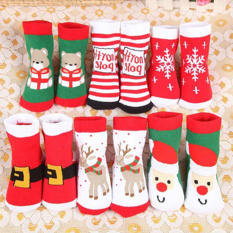 Christmas Baby Girls Boys Cotton Winter Autumn Warm Socks Children Striped Terry Snowflake Elk Santa Claus Bear Socks For Gifts
